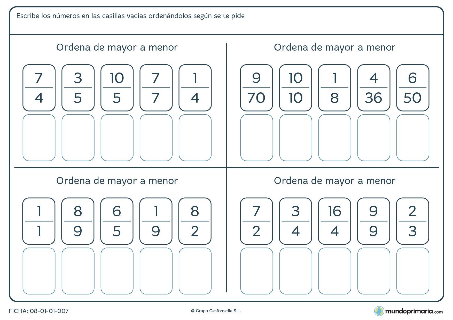 Ficha-de-ordenar-fracciones-de-mayor-a-menor-para-primaria