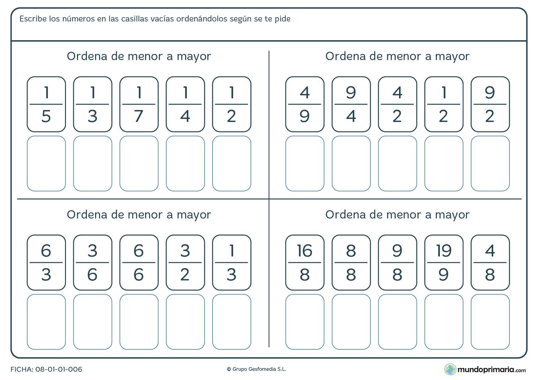 Ficha-de-ordenar-fracciones-para-niños-de-primaria